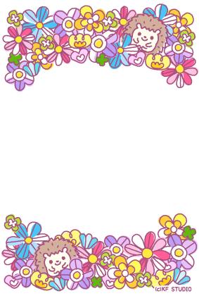 お花とハリネズミのカード01