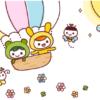 お花と気球のカード