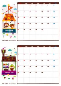 2019年01-02月カレンダー