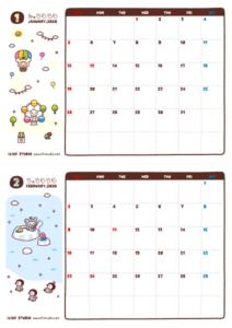2020年01-02月カレンダー