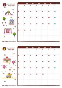 2020年03-04月カレンダー