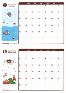2020年07-08月カレンダー