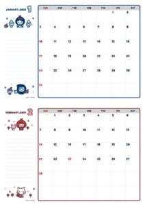 2021年01-02月カレンダー