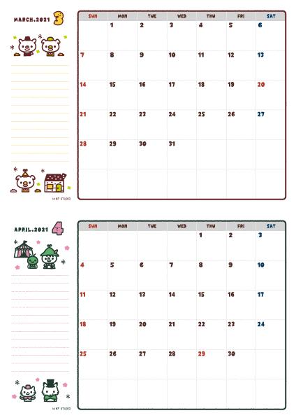2021年03-04月カレンダー