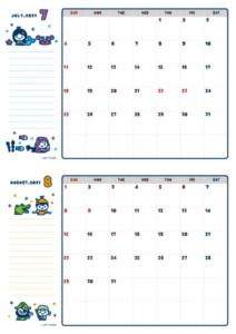 2021年07-08月カレンダー