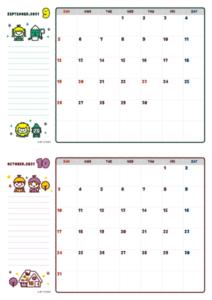 2021年09-10月カレンダー