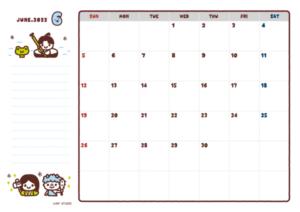 2021年06月カレンダー(書込欄付き)