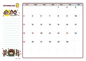2021年09月カレンダー(書込欄付き)