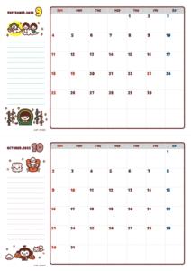 2021年09-10月カレンダー(書込欄付き)