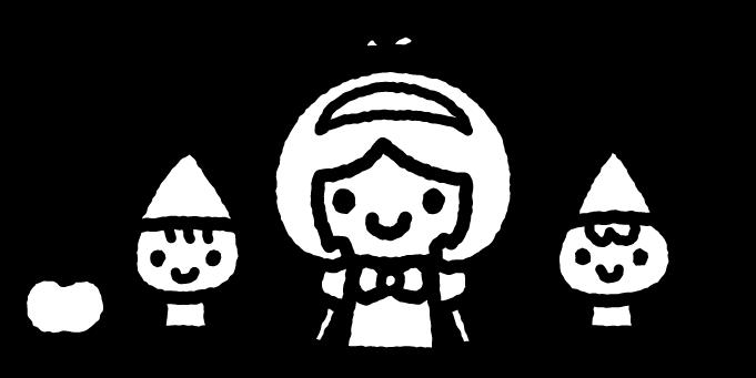 白雪姫のイラスト01(白黒)