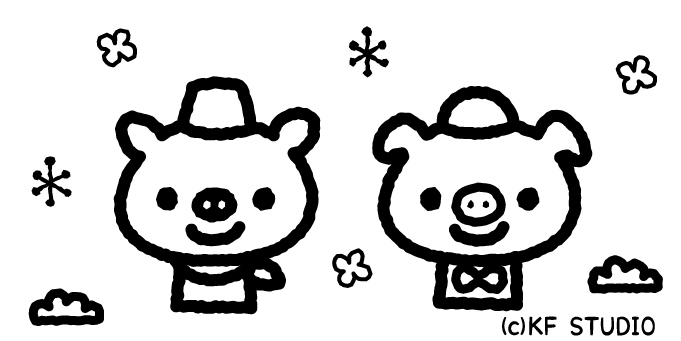 3匹のこぶたのイラスト01(白黒)