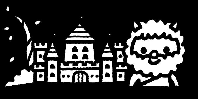 ジャックと豆の木のイラスト01(白黒)