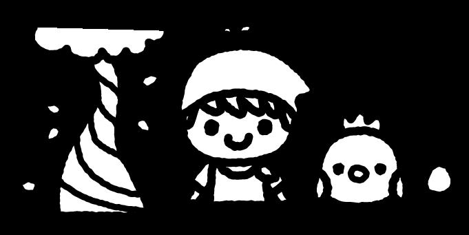 ジャックと豆の木のイラスト02(白黒)