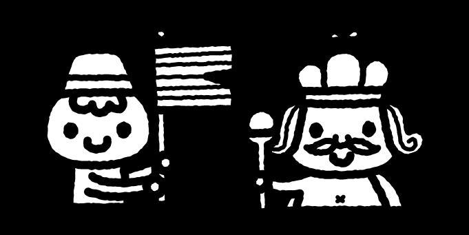 はだかの王様のイラスト01(白黒)
