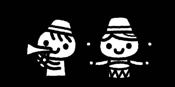 はだかの王様のイラスト02(白黒)