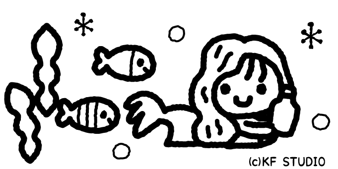人魚姫のイラスト02(白黒)