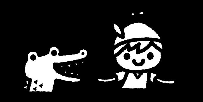 ピーターパンのイラスト01(白黒)