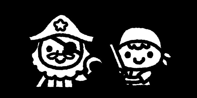 ピーターパンのイラスト02(白黒)
