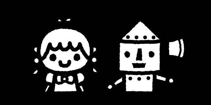 オズの魔法使いのイラスト01(白黒)