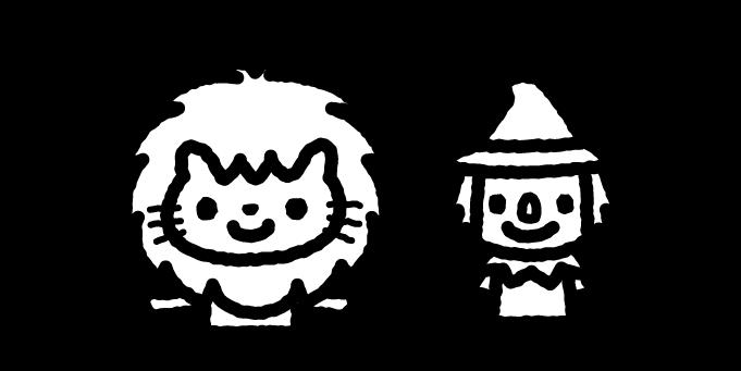 オズの魔法使いのイラスト02(白黒)
