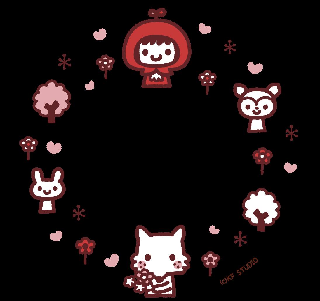 赤ずきんちゃんのイラストフレーム