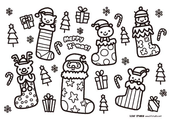 クリスマスランチョンマット(白黒)